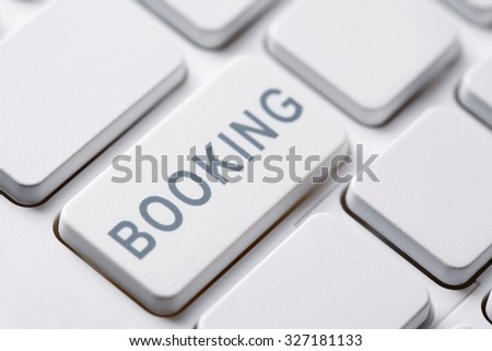Booking button on a computer keyboard