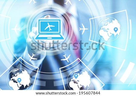 Booking online flights concept pointing finger - stock photo