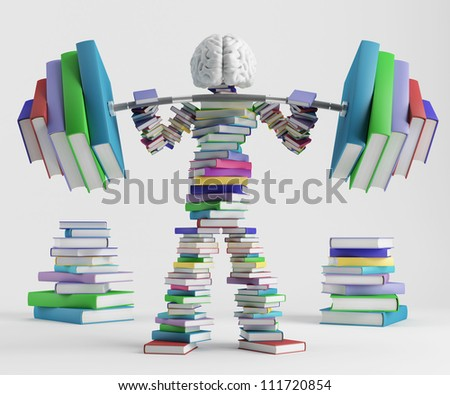 Bookish man lifts a heavy barbell loaded with sports in the form of books - stock photo
