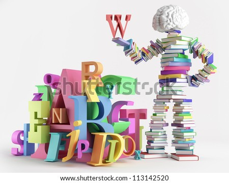 Bookish man standing next to a bunch of letters - stock photo