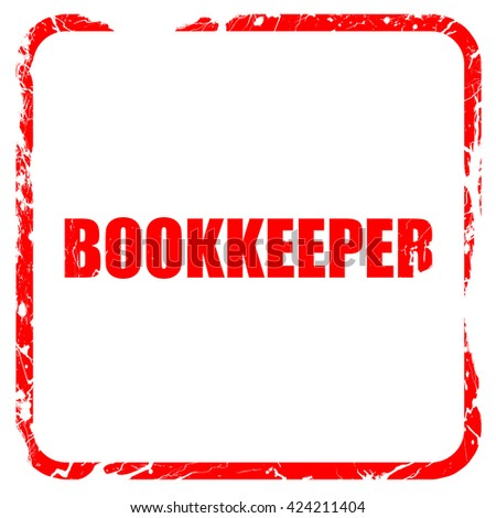 bookkeeper, red rubber stamp with grunge edges - stock photo