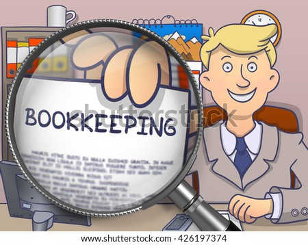 Bookkeeping. Man Showing Paper with Business Offer through Magnifier. Multicolor Doodle Illustration. - stock photo