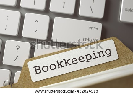 Bookkeeping written on  Archive Bookmarks of Card Index Lays on White Modern Computer Keyboard. Archive Concept. Closeup View. Selective Focus. Toned Illustration. 3D Rendering. - stock photo