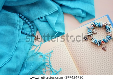bookmark and accessories - stock photo