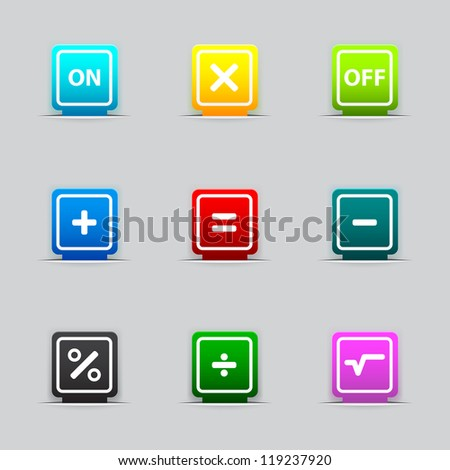 Bookmark with mathematical signs - stock photo
