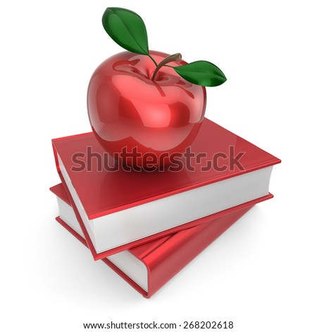 Books and apple back to school book education health reading textbook concept. 3d render isolated on white - stock photo