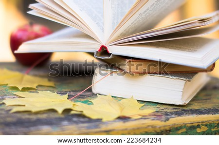 books and apple on wooden bench on autumn background - stock photo