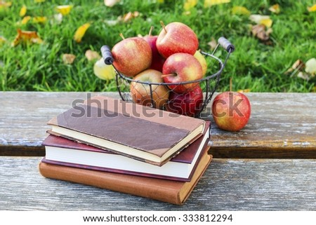 Books and apples in the garden - stock photo