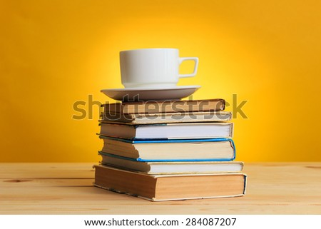 Books and cup of coffee