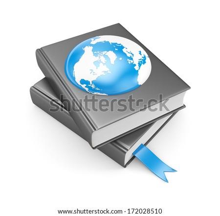 Books and earth. Global metaphors - stock photo
