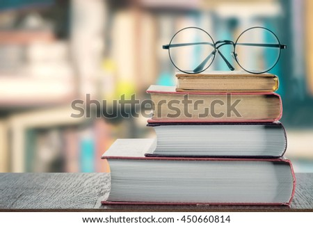 Books and glasses - stock photo