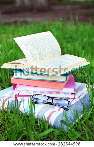Books and glasses on pillow on grass close-up