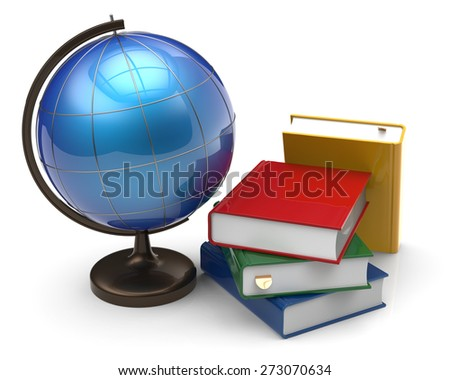 Books and globe blank international global geography knowledge studying wisdom literature icon concept. 3d render isolated on white background - stock photo