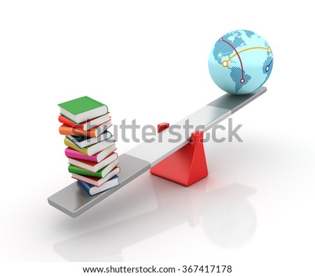 Books and Globe World Balancing on a Seesaw - Balance Concept - High Quality 3D Render   - stock photo