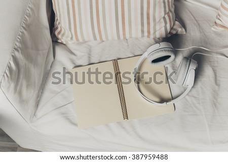 Books and headphones - stock photo