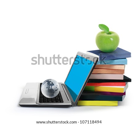 Books and laptop isolated on white background - stock photo