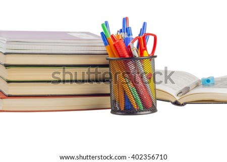 books and notebooks with handles in the bank - stock photo
