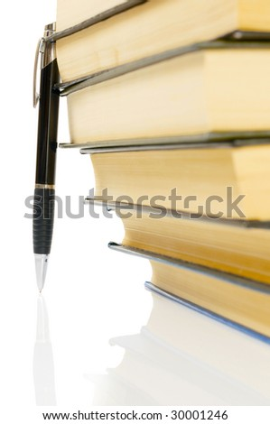 books and pen, isolated on white
