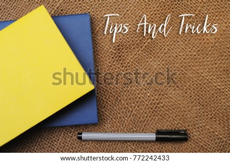 books pen tips tricks written on stock photo royalty free