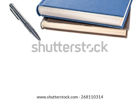 Books and pencil on white - stock photo