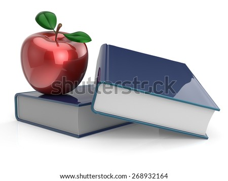 Books and red apple education learning health reading textbook examination back to school concept. 3d render isolated on white - stock photo