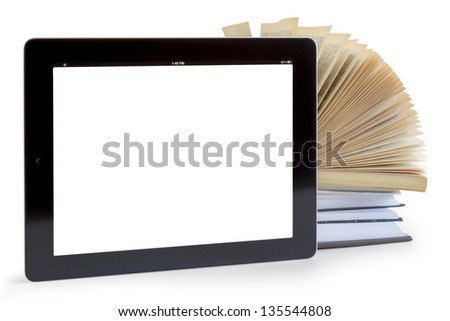 Books and tablet computer isolated on white, digital library concept, - stock photo