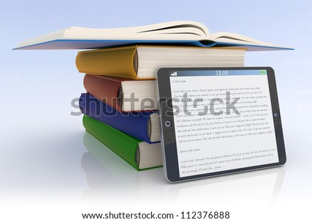 Books and tablet pc - stock photo