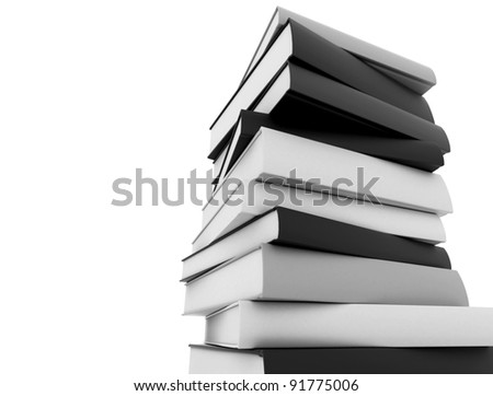 Books black and white stacked against white background - stock photo