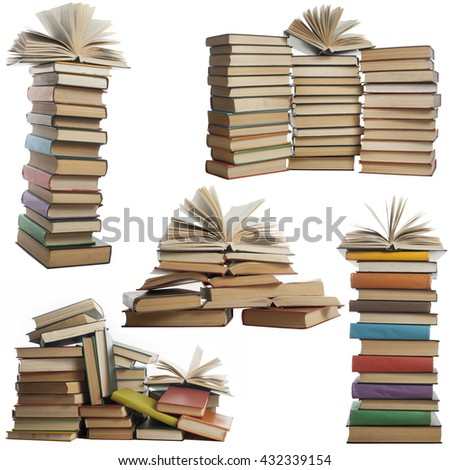 Books collection isolated on white background. Open, hardback book - stock photo