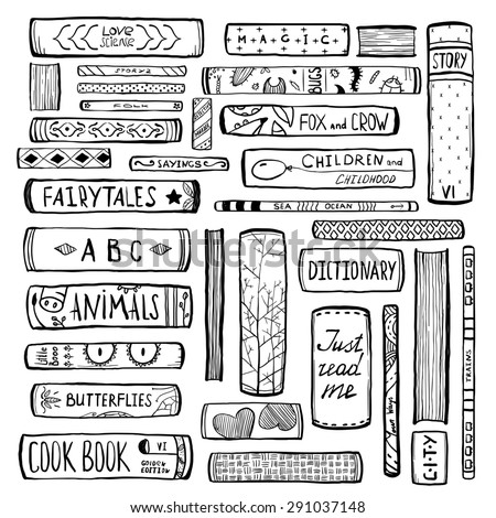 Books Collection Monochrome Inky Outline Illustration. Hand drawn in black big set of literature illustration. Raster variant. - stock photo