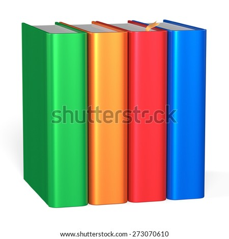 Books educational four textbooks bookshelf bookcase row standing 4 blank colorful green orange red blue template. School studying knowledge content icon concept. 3d render isolated on white background - stock photo