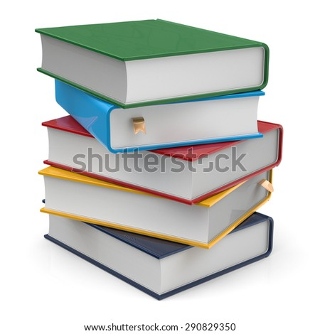 Books five 5 blank covers textbooks stack different colorful multicolored with bookmarks. School studying information content learn icon concept. 3d render isolated on white background - stock photo