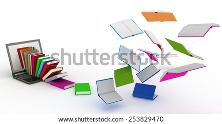 books fly into your laptop - stock photo