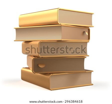 Books golden textbook stack yellow gold blank and bookmarks. School studying information content learn question answer icon concept. 3d render isolated on white background - stock photo