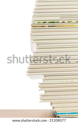 Books head-shaped, isolated on white