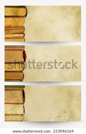 books in a row on old paper - banners - stock photo