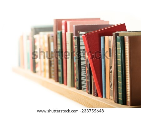 Books in a row. Shallow depth of field.
