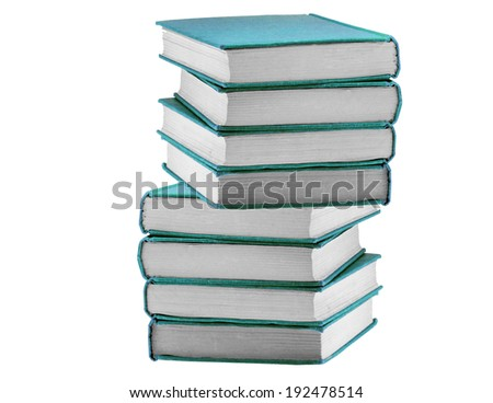 Books in blue cover isolated on white