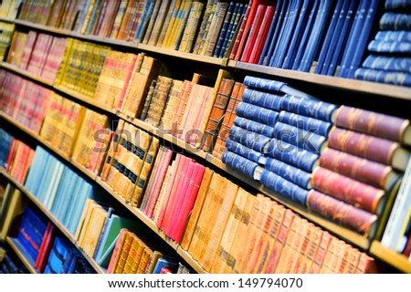 Books in bookshelf - stock photo