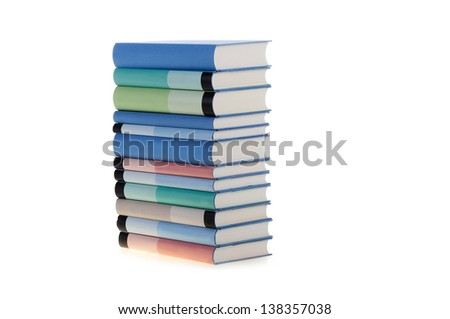 Books in bright colors arranged vertical