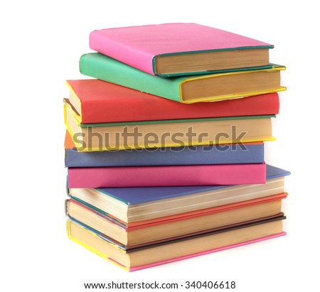 Books in color covers on a white background, not isolate. Textbooks.