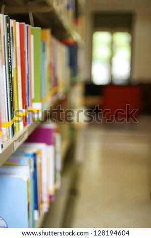 Books in Library - stock photo