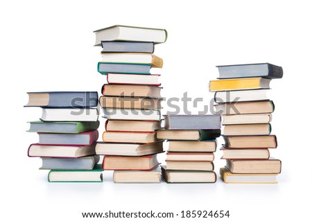 books in stack, isolated on white background, - stock photo
