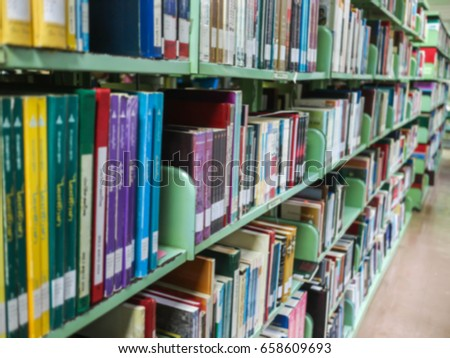 Books in the library (blurred)