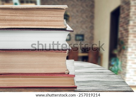 Books in the living room - stock photo