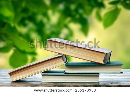 Books in the spring - stock photo