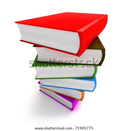 Books multicolor in pile top side closeup view isolated on white