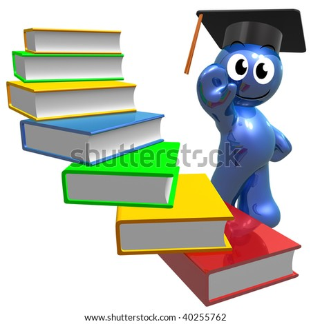 Books of knowledge illustration - stock photo