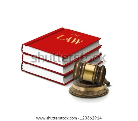 Books of law and gavel - stock photo