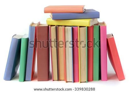 Books on a white background (not isolate). Literature.